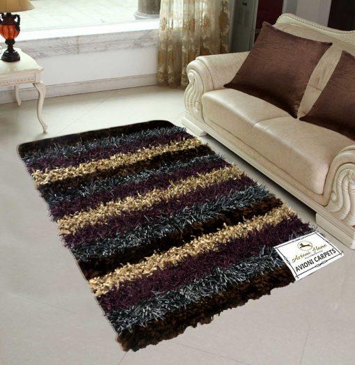 Avioni Shaggy Purple-Beige Multicolor handweaved Handloom Shaggy Carpet (4x6 Feet), Best Price Guarantee