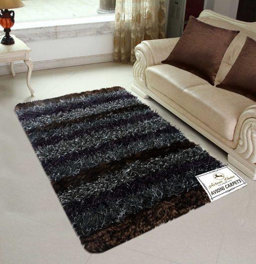 Avioni Shaggy Gray Multicolor handweaved Handloom Shaggy Carpet (4x6 Feet), Best Price Guarantee