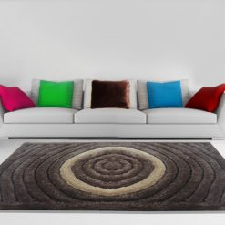 Shaggy Carpet 3D in Brown Rounds by Avioni