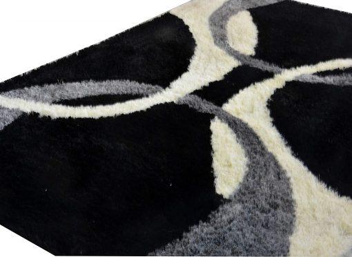 Premium Black Multicolor Curves Shaggy Carpet (4X6 Feet) By Avioni