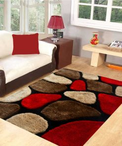 Premium Red Stones Hand Tufted Shaggy Carpet (4X6 Feet) by Avioni