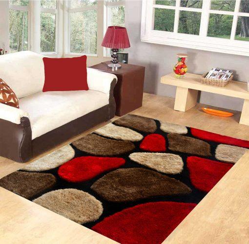 Premium Red Stones Hand Tufted Shaggy Carpet by Avioni
