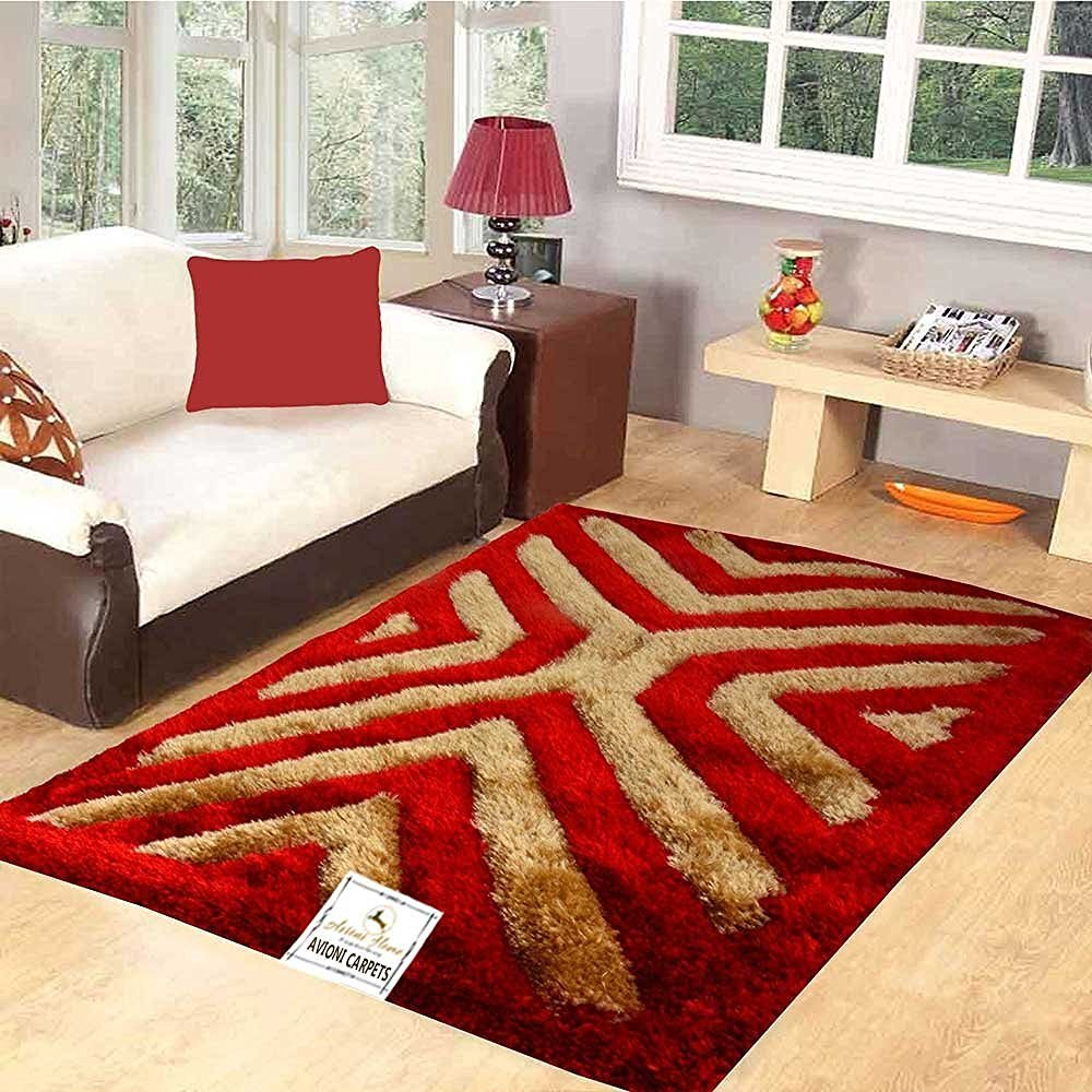 Premium Red 3D Waves Shaggy Carpet (4X6 Feet) by Avioni