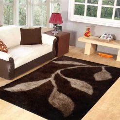 Premium Coffee Leaves Shaggy Carpet by Avioni