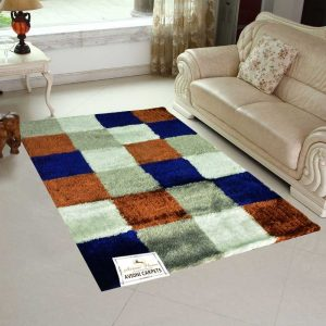 Designer Shaggy Carpet Contemporary Four Square Design In Blue- 6 Feet x9 Feet by Avioni
