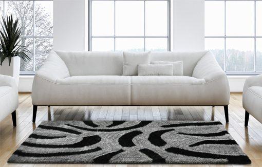 Designer Rug-Shaggy Carpet with contemporary Black/Grey Design-Factory Price from Avioni