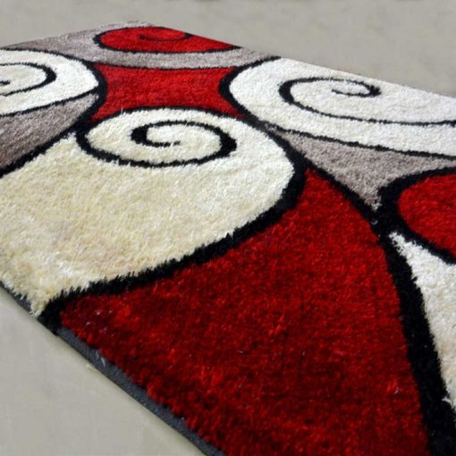 Handloom Rugs Carpets In Beautiful Curves In Red by Avioni