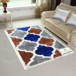 Handloom Rugs Carpets For Living Room In Moroccan Lattice Multicolor-Blue by Avioni