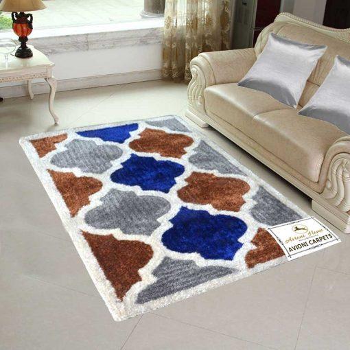 Handloom Rugs Carpets For Living Room In Moroccan Lattice Multicolor-Blue -3 X 5 Feet by Avioni