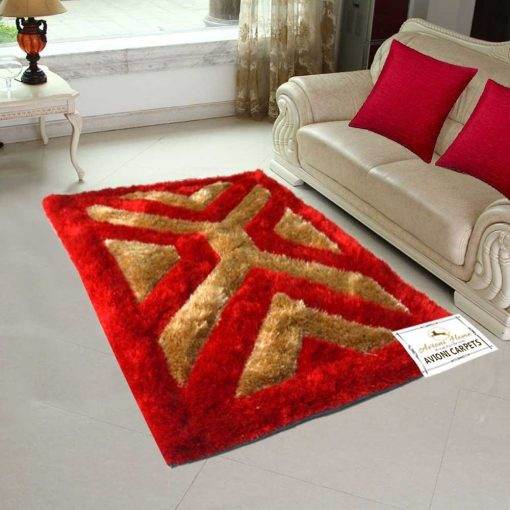 3D Red And Beige Beautiful patterned Shaggy Carpet by Avioni