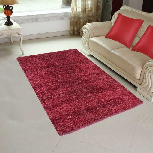 Handloom Rugs Carpets For Living Room Solid Colors Mahroon - 3 X 5 Feet