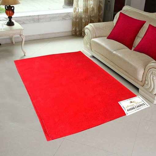 Handloom Felted Wool Carpet In Plain Red Very Warm For Winters (4.5 x 7 Feet) by Avioni