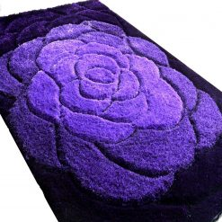 Premium Beautiful Rose Flower in 3D Purple Tufted Shaggy Carpet
