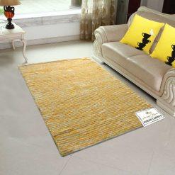 Solid Handloom Yellow Striped Rug/ Carpets 3 x 5 Feet By Avioni