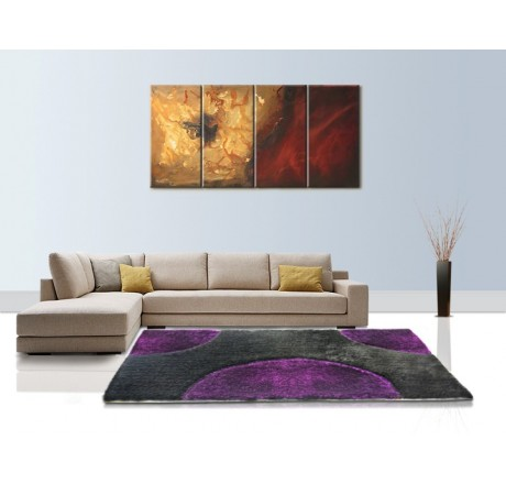 Buy Handloom Black and Purple Semi Circle Shaggy Carpet