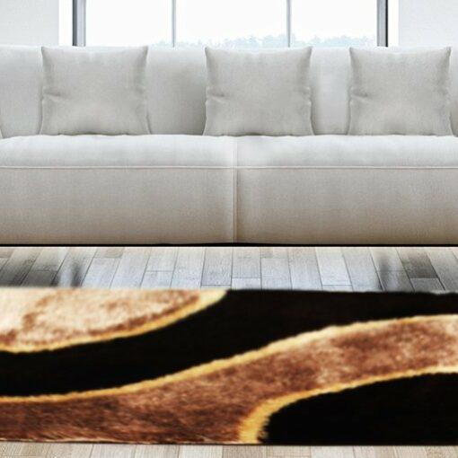 Shaggy Carpet Coffee with Beige Curve Design by Avioni -3 feet X 5 feet