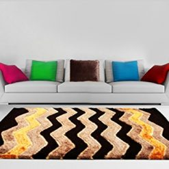 Shaggy Carpet Coffee with Multicolor Zig-zag Design by Avioni