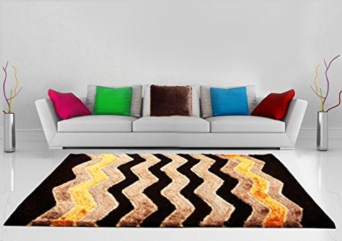 Shaggy Carpet Coffee with Multicolor Zig-zag Design by Avioni -4 feet X 6 feet