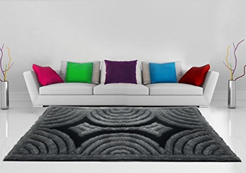 3D Shaggy Carpet of Black and Grey Color By Avioni - 3 Feet X 5 Feet
