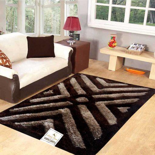 Premium Coffee 3D Waves Shaggy Carpet (3X5 Feet) by Avioni