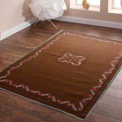 Brown Carpet | Woolen Mat | Embroidered | Avioni
