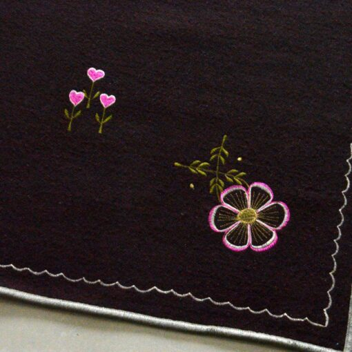 Wool Area Rugs | Dark Brown Carpet | Embroidered | Avioni