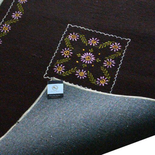 Dark Brown Rug | Woolen Mat | Embroidered | Avioni