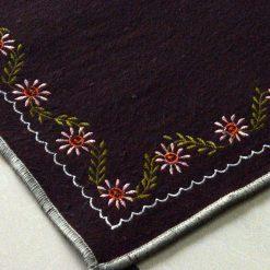 Dark Brown Rug | Wool Mat | Embroidered | Avioni