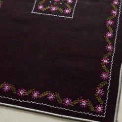 Dark Brown Rug | Buy Woolen Mat | Embroidered | Avioni