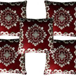 Chenille Cushion Covers In Red Floral (16X16 Inches) (Set of Five)