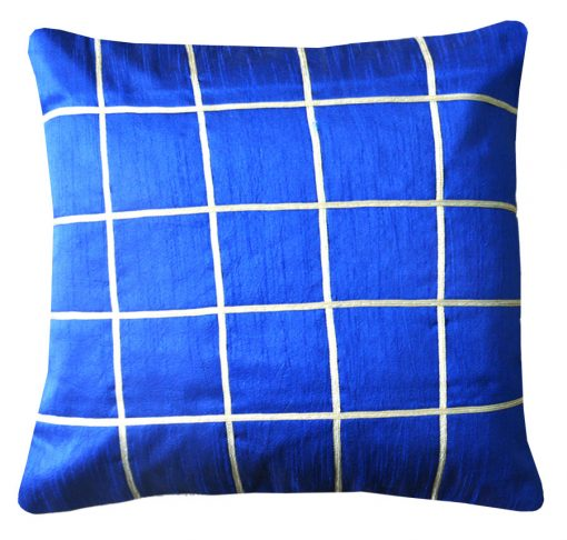 Cushion Covers in Blue Check 16 X 16 Inch (set of 5) by Avioni
