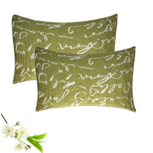 Pillow Cases – Green (Mehandi) Color -100% Cotton – Set of 2 – Avioni