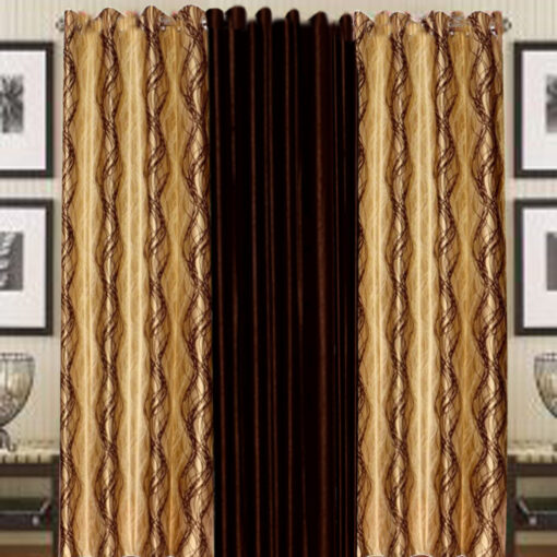 Home Fancy Eyelet Curtain Brown and coffee(Set of 3) by Avioni