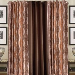 Home Fancy Rich Look Brown Leaves & Coffee Eyelet Curtain Polyester & Plain(Set of 3) by Avioni