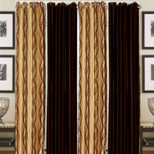 Home Fancy Eyelet Curtain Brown and coffee (Set of 4) by Avioni