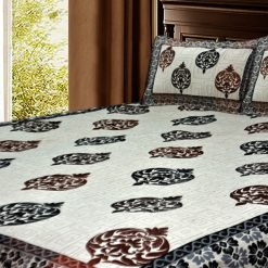 Ethnic Chenille Bed cover / Bedsheet Cream And Brown Floral luxurious Feel By Avioni