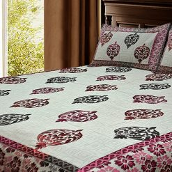 Ethnic Chenille Bed cover / Bedsheet Red And Pink Floral Soft and luxurious Feel By Avioni