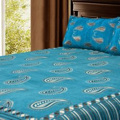 Chenille Bed cover/ Bedsheet In Rich Blue Traditional Design Soft and luxurious Feel By Avioni