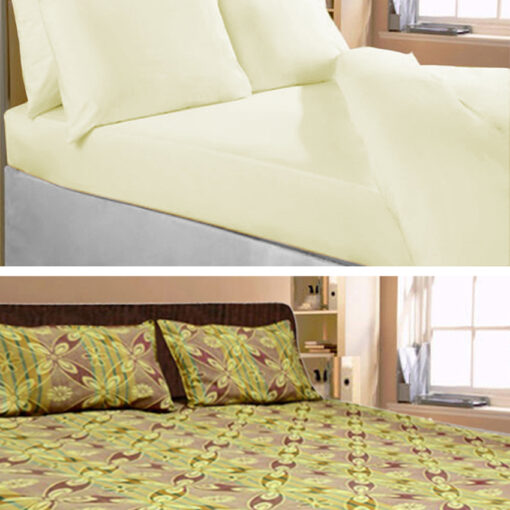 Set of 2 Cotton Double Bed Sheets Combo by Avioni