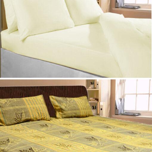 Double Bed Sheet plain and Floral Design 100% Fine Cotton by Avioni