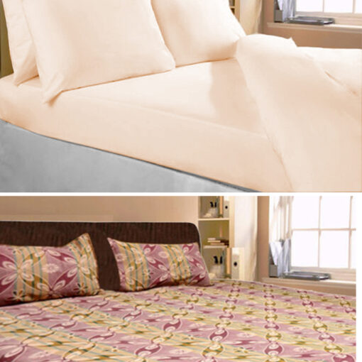 Set of 2 Cotton Double Bed Sheets Combo Plain and Floral Design by Avioni