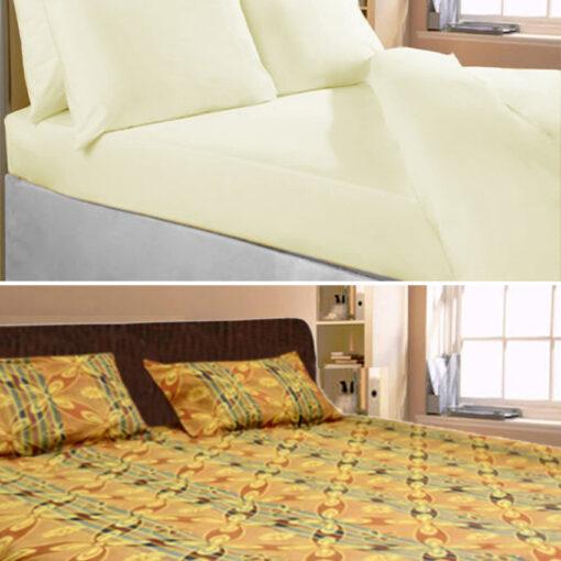 Cotton Double Bed Sheet Plain and Multicolor Floral Design by Avioni (Set of 2)