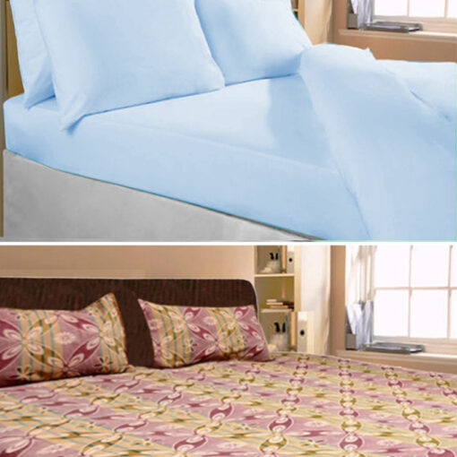 Double Bed Sheets Combo Blue Color Plain & Floral Design (set of 2) by Avioni