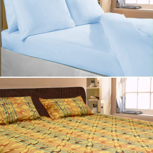 Cotton Double Bed Sheet Combo Set of 2 Plain and Floral Design by Avioni
