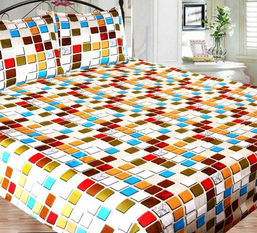 Double Bed Sheet 150 Tc 100% Fine Cotton Brown Squares By Avioni