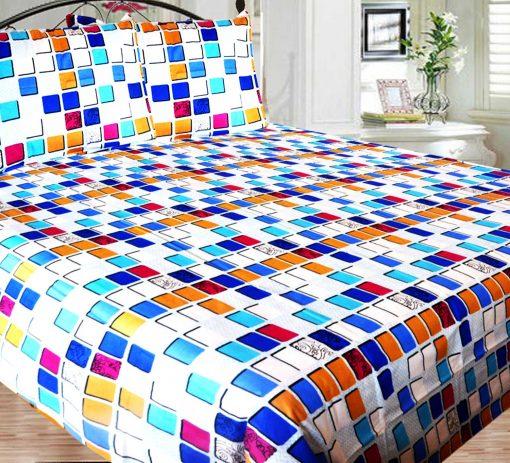Double Bed Sheet 150 Tc 100% Fine Cotton Blue Squares By Avioni