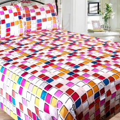Double Bed Sheet 150 Tc 100% Fine Cotton Pink Squares By Avioni