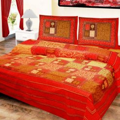 Double Bed Sheet  Floral Red & Brown
