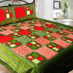 Double Bed Sheet  Apple Green In Multicolor Square