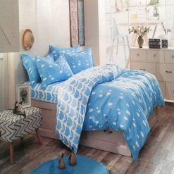 Double Bed Sheet 100% Cotton beautiful Blue Print in File packing by Avioni